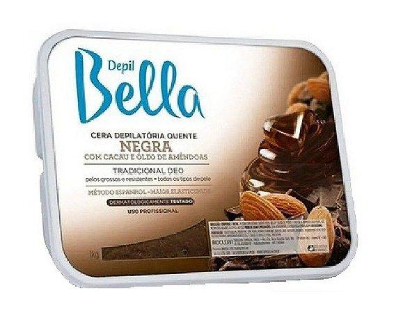 DEPIL BELLA Cera Depilatória Quente Negra com Cacau e Óleo de Amendoas 1Kg