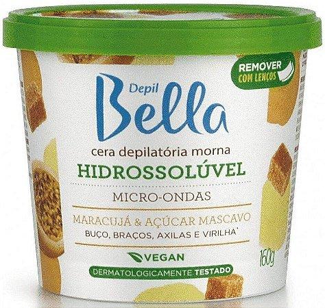 Depil Bella Cera Depilatória Morna Hidrossolúvel Micro-Ondas Maracujá e Açúcar Mascavo Vegan 160g