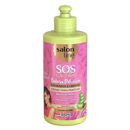 SALON LINE SOS Cachos Babosa Definição Creme para Pentear Vegano 300ml