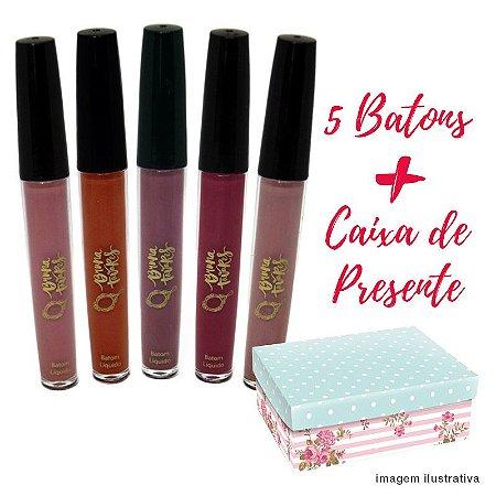Tracta Kit Presente 5 Batons Bruna Tavares + Caixa de Presente