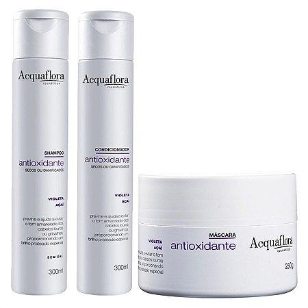 ACQUAFLORA Antioxidante para Cabelos Secos ou Danificados Kit Shampoo+Condicionador+Máscara Capilar