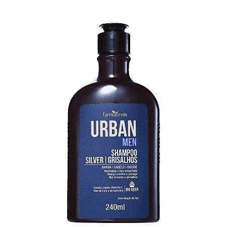 URBAN MEN Shampoo Silver Grisalhos para Cabelo, Barba e Bigode 240ml