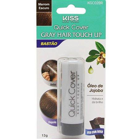 KISS NEW YORK Retoque Capilar Bastão Gray Hair Touch Up Marrom Escuro 13g (KGC02BR)