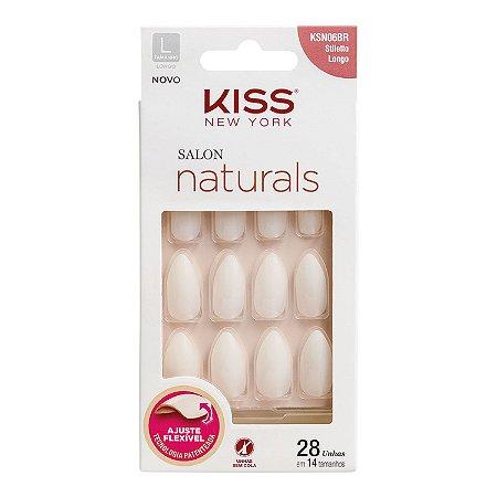 KISS NEW YORK Unhas Postiças Salon Naturals Stiletto Longo 28un (KSN06BR)