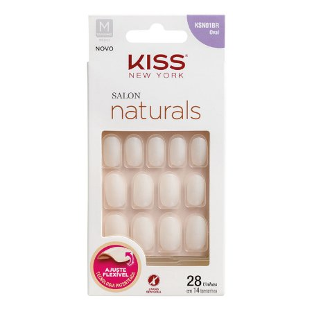 Kiss New York Unhas Postiças Salon Naturals Oval Médio 28un (KSN01BR)
