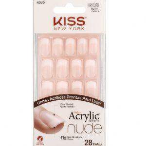 KISS NEW YORK Unhas Postiças Salon Acrylic French Nude Médio Cashmere 28un (KAN03BR)