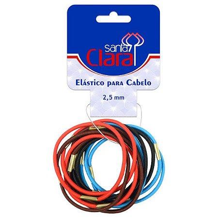 SANTA CLARA Elástico para Cabelo 2,5mm Colorido Importado 12un (3274)