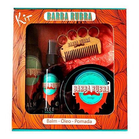 Barba Rubra Kit Barba Balm 100ml + Óleo 60ml + Pomada 100g Grátis Pente Exclusivo