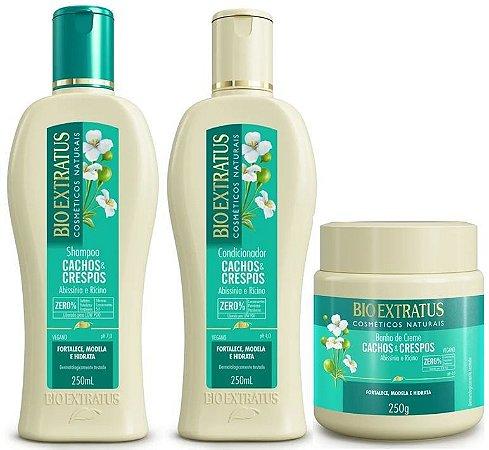 BIO EXTRATUS Cachos & Crespos Shampoo + Condicionador 250ml + Banho de Creme 250g