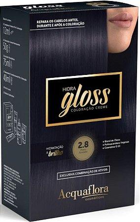 ACQUAFLORA Coloração Permanente Hidra Gloss 2.8 Preto Azulado