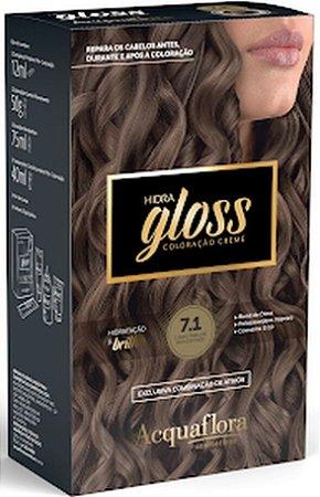 ACQUAFLORA Coloração Permanente Hidra Gloss 7.1 Louro Natural Acinzentado
