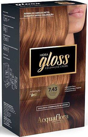 ACQUAFLORA Coloração Permanente Hidra Gloss 7.43 Louro Natural Acobreado Dourado