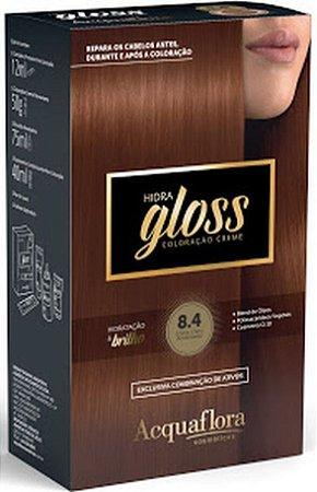 ACQUAFLORA Coloração Permanente Hidra Gloss 8.4 Louro Claro Acobreado