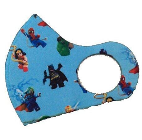 BELA CENTER Máscara Higiênica Lavável Infantil de Neoprene Super Heróis