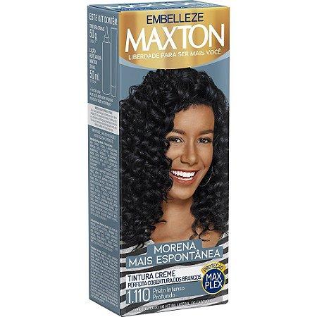 MAXTON Coloração Permanente Kit 1.110 Preto Intenso Profundo Morena Mais Espontânea