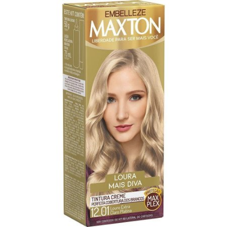 MAXTON Coloração Permanente Kit 12.01 Louro Extra Claro Platina Loura Mais Diva