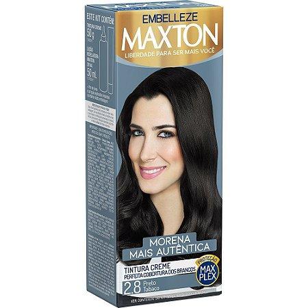 MAXTON Coloração Permanente Kit 2.8 Preto Tabaco Morena Mais Autêntica