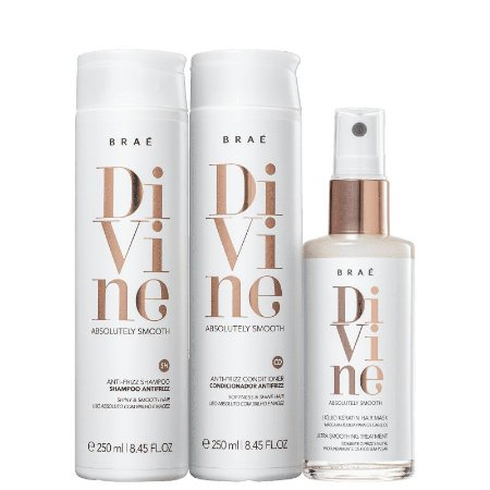 BRAÉ Divine Kit Shampoo + Condicionador Antifrizz 250ml + Máscara Capilar Líquida 60ml