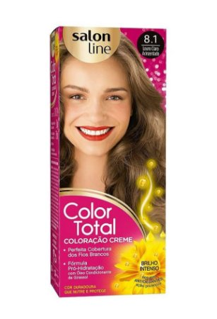 SALON LINE Color Total Coloração Permanente Kit 8.1 Loiro Claro Acinzentado