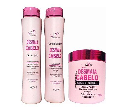 NAXOS Desmaia Cabelo Kit Shampoo + Condicionador + Máscara Capilar 500g