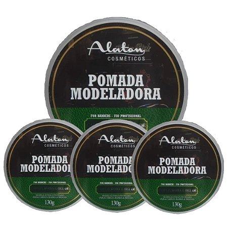 ALATON Pomada Modeladora Profissional para Cabelo, Barba e Bigode 130g kit 12un