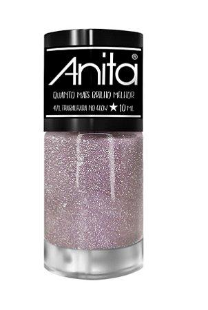 ANITA Esmalte Quanto Mais Brilho Melhor Glitter Trabalhada no Glow 10ml