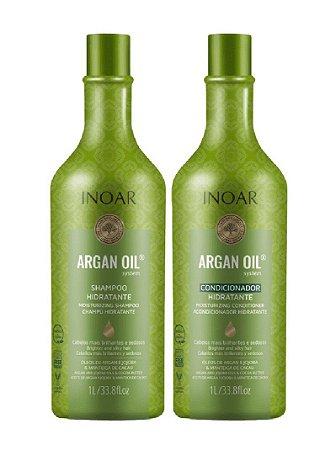 Inoar Argan Oil Kit Hidratação Shampoo + Condicionador Vegano 1l