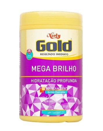 NIELY Gold Mega Brilho Máscara Capilar Hidratação Profunda MaxQueratina 1Kg