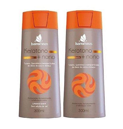BARROMINAS Keratano + Nano Kit Cabelo Seco e Ressecado Shampoo + Condicionador