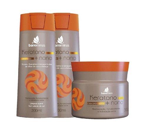 BARROMINAS Keratano + Nano Kit Cabelo Seco Shampoo + Condicionador + Máscara