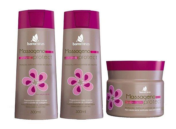 BARROMINAS Massageno Protect Kit Cabelo Ressecado com Frizz Shampoo + Condicionador + Máscara