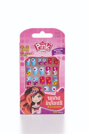 Pink by Kiss Unhas Postíças Infantil Pop Princess 24Un (FPSP02)