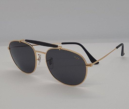 Óculos de Sol Flex Redondo Dourado