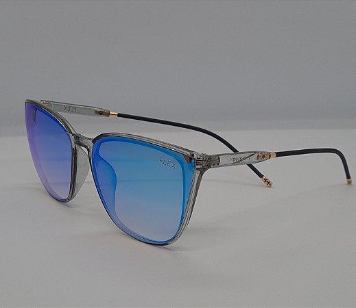 Óculos de Sol Flex Feminino Espelhado Azul