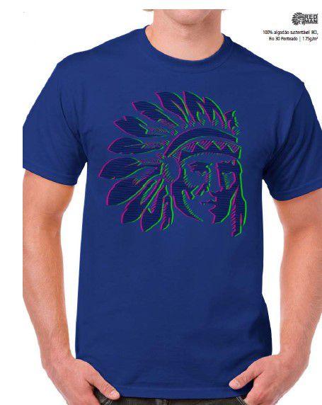 Camiseta Red Man Índio Azul