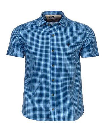 Camisa Made in Mato Xadrez Manga Curta Liara Azul