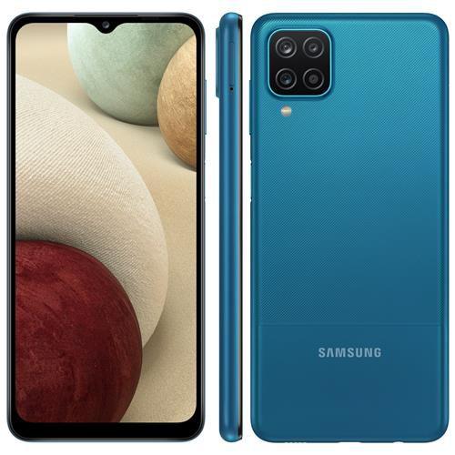 """Samsung Galaxy A12 Azul 64GB, Tela Infinita de 6.5"""", Câmera Quádrupla, Bateria 5000mAh, 4GB RAM"""