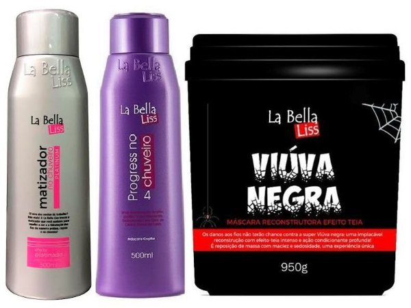 Kit Matizador No Chuveiro 500ml + Progressiva no Chuveiro 500ml + Viúva Negra 950g La Bella Liss