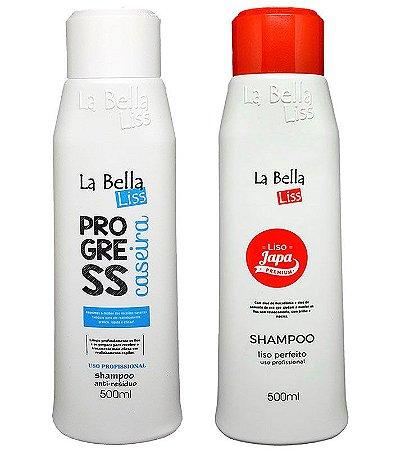 Shampoo Anti-Resíduos Progressiva Caseira 500ml + Liso Japa Shampoo que Alisa 500ml