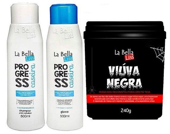 Combo Progressiva Caseira 2 passos + Viúva Negra Máscara de Reconstrução 240g La Bella Liss