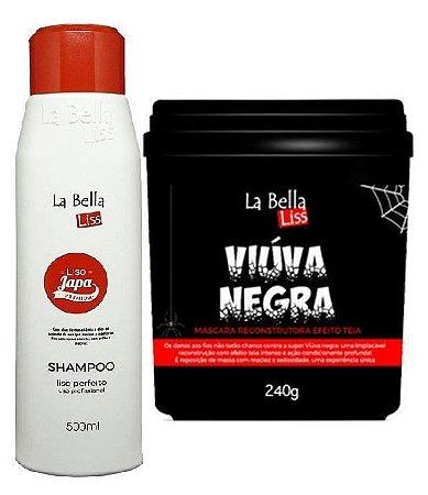 Liso Japa Shampoo Que Alisa 500ml + Viúva Negra Máscara De Reconstrução 240g La Bella Liss