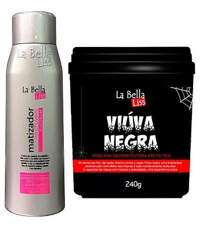 Kit Matizador No Chuveiro 500ml + Viúva Negra Máscara De Reconstrução 240g La Bella Liss