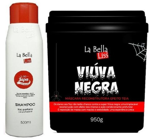 Liso Japa Shampoo Que Alisa 500ml + Viúva Negra Máscara De Reconstrução 950g La Bella Liss