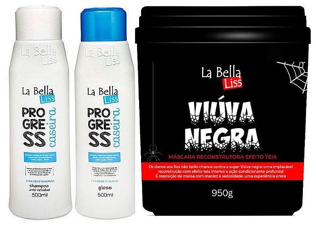 Combo Progressiva Caseira 2 passos + Viúva Negra Máscara de Reconstrução 950g La Bella Liss