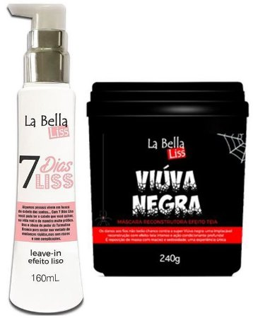 Kit 7 Dias Liss Leave-in Efeito Liso 160ml + Máscara Reconstrutora Viúva Negra 240g La Bella Liss