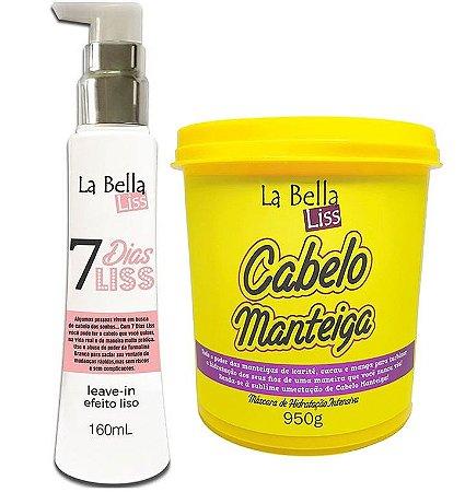 Kit 7 Dias Liss Leave-in Efeito Liso 160ml + Máscara de Hidratação Cabelo Manteiga 950g La Bella Liss
