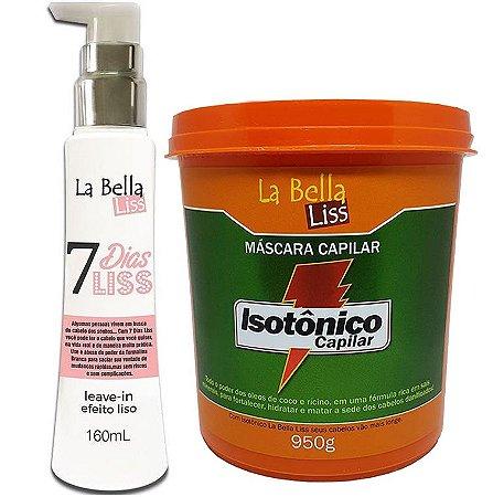 Kit 7 Dias Liss Leave-in Efeito Liso 160ml + Máscara de Nutrição Isotônico Capilar 950g La Bella Liss