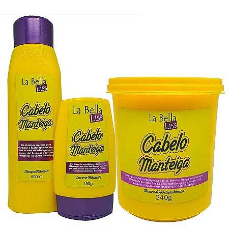 Cabelo Manteiga Kit Shampoo 500ml + Leave-in 150g + Máscara 240g