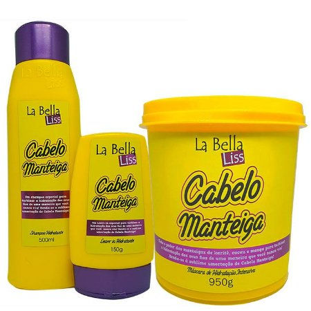 Cabelo Manteiga Kit Shampoo 500ml + Leave-in 150g + Máscara 950g