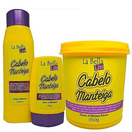 Cabelo Manteiga Kit Shampoo 500ml + Leave-in 150g + Máscara 950g